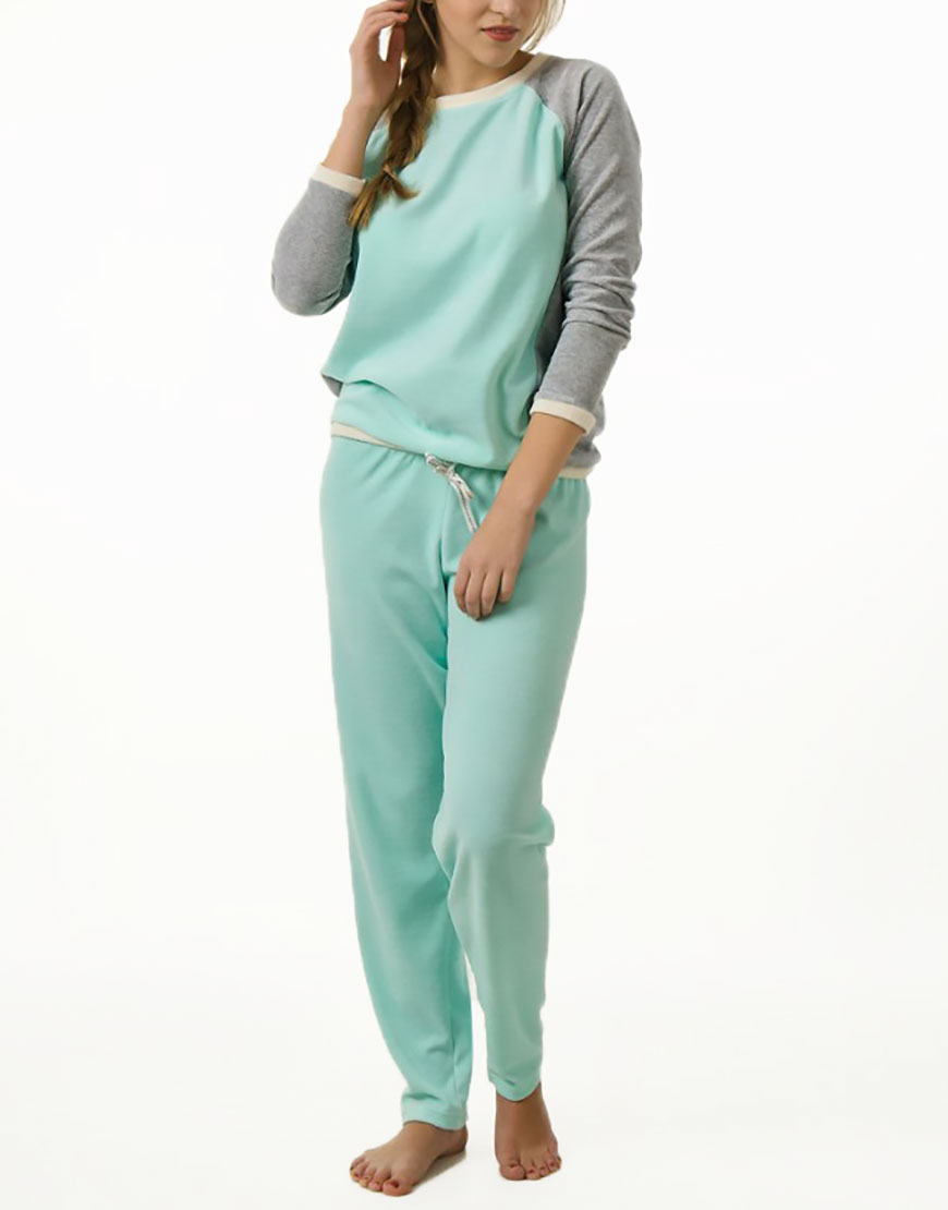 Мятная велюровая пижама