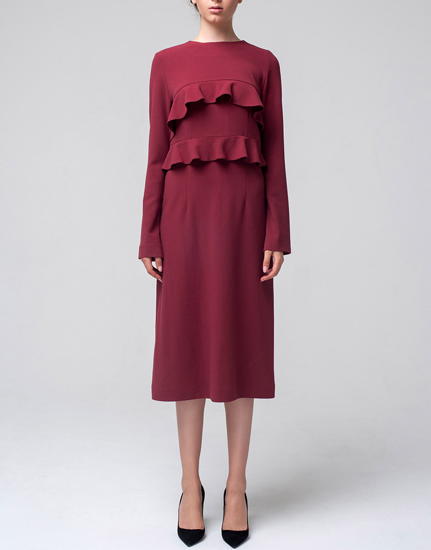 Купить Платье с горизонтальными воланами