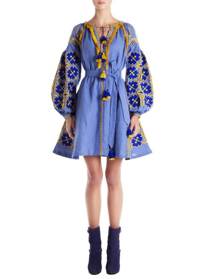 Платье-вышиванка «Синяя роза» FOBERI_01112, фото 1 - в интеренет магазине KAPSULA