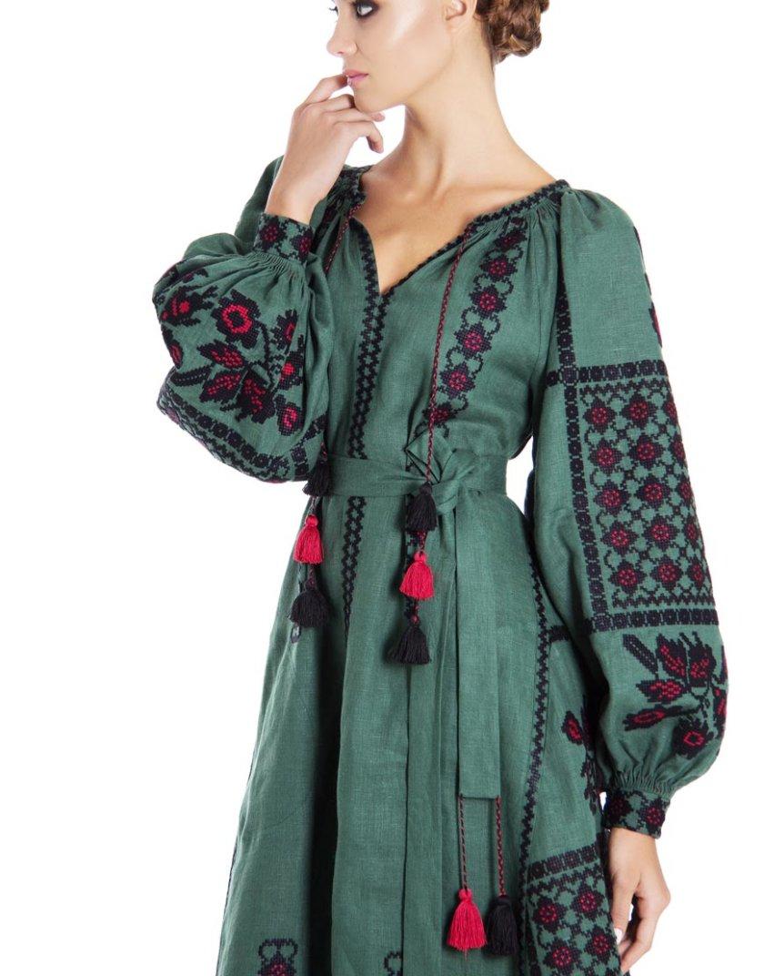 Платье-вышиванка «Зелёный шик» FOBERI_01108, фото 1 - в интернет магазине KAPSULA