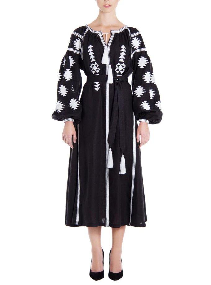 Платье-вышиванка «Черная геометрия» FOBERI_01107, фото 1 - в интернет магазине KAPSULA