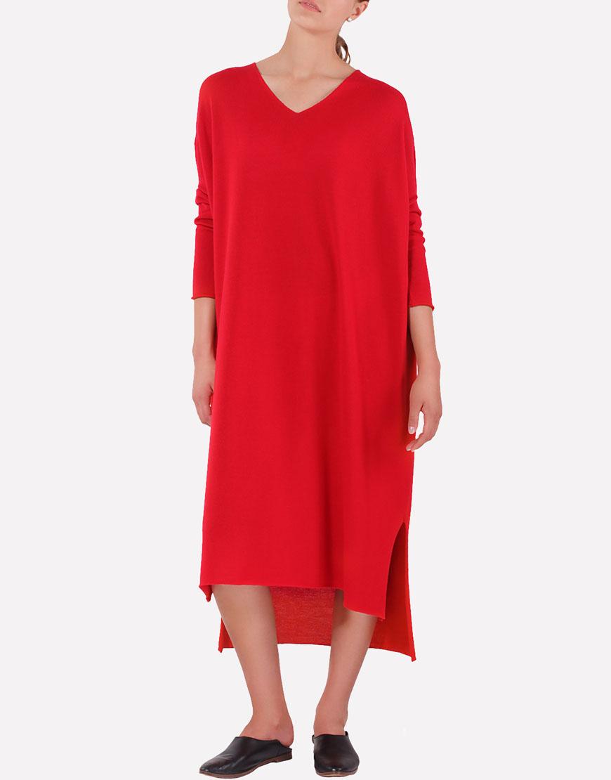 Мериносовое платье свободного силуэта