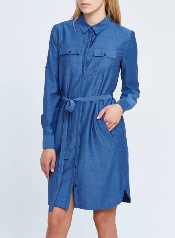 Платье-рубашка прямого силуэта PPM_PM-26, фото 1 - в интернет магазине KAPSULA