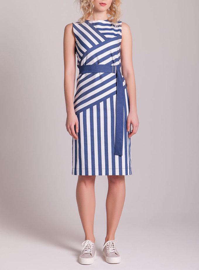 Платье из стрейч-хлопка на поясе CYAN_DS_H01_outlet, фото 1 - в интеренет магазине KAPSULA