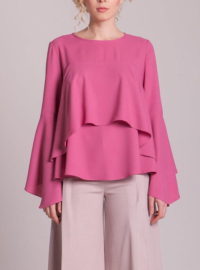 Блуза с воланами CYAN_TP_H01_outlet, фото 1 - в интернет магазине KAPSULA