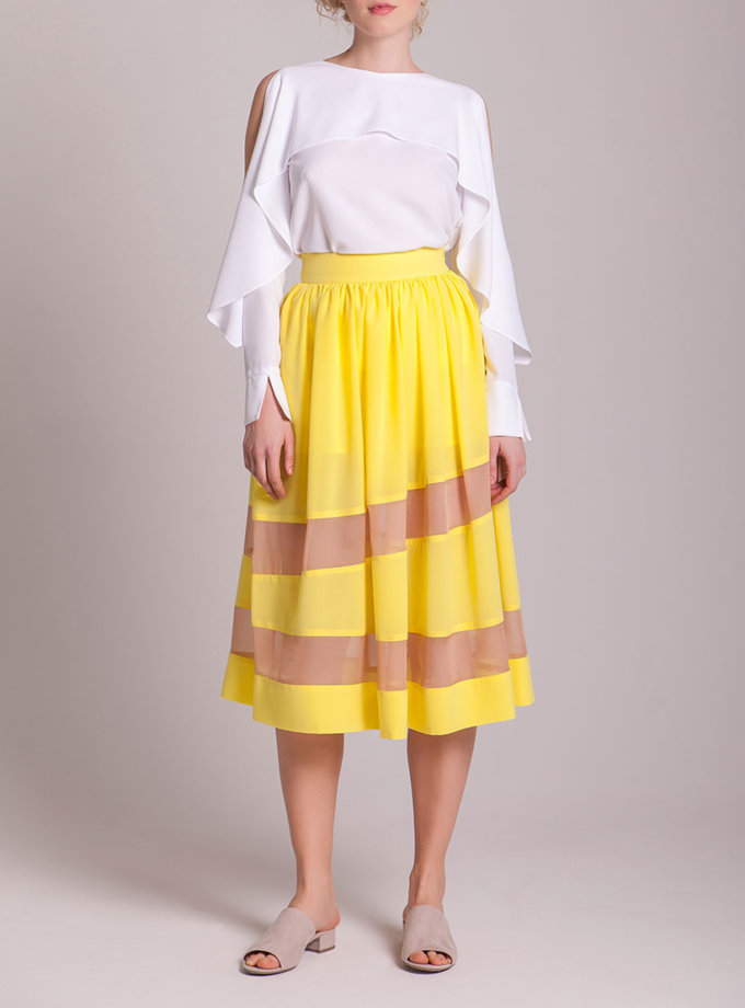 Блуза с вырезами на плечах CYAN_TP_H02, фото 1 - в интеренет магазине KAPSULA