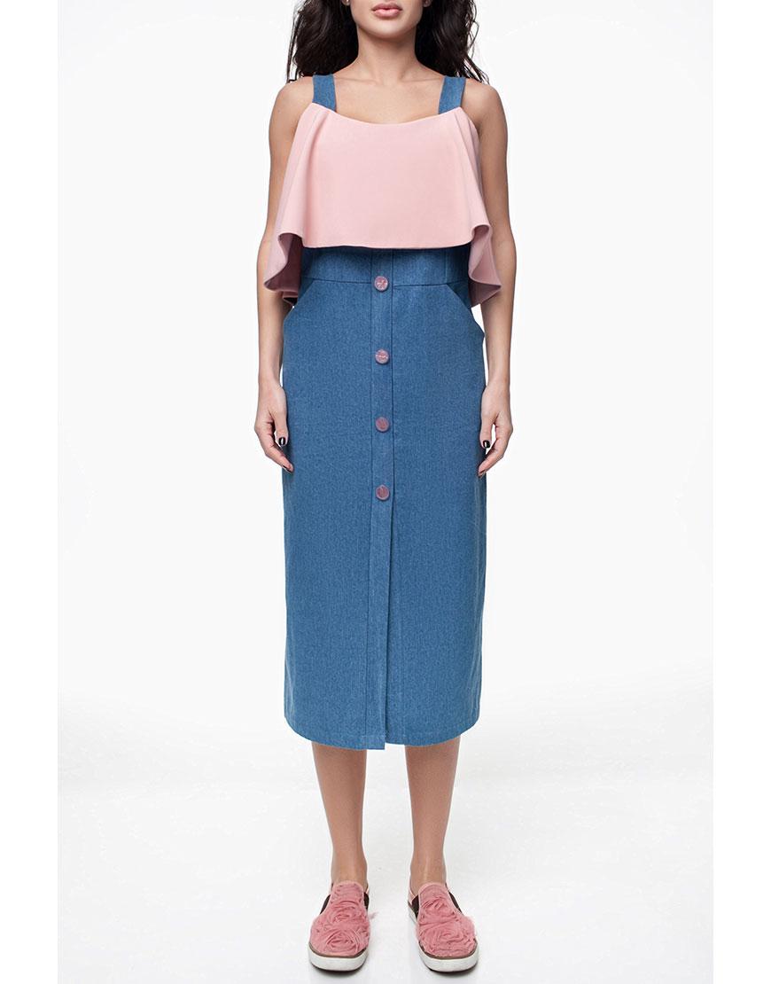 Джинсовое платье-футляр с рюшем