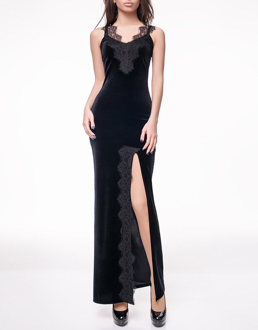 Купить Бархатное платье с кружевом