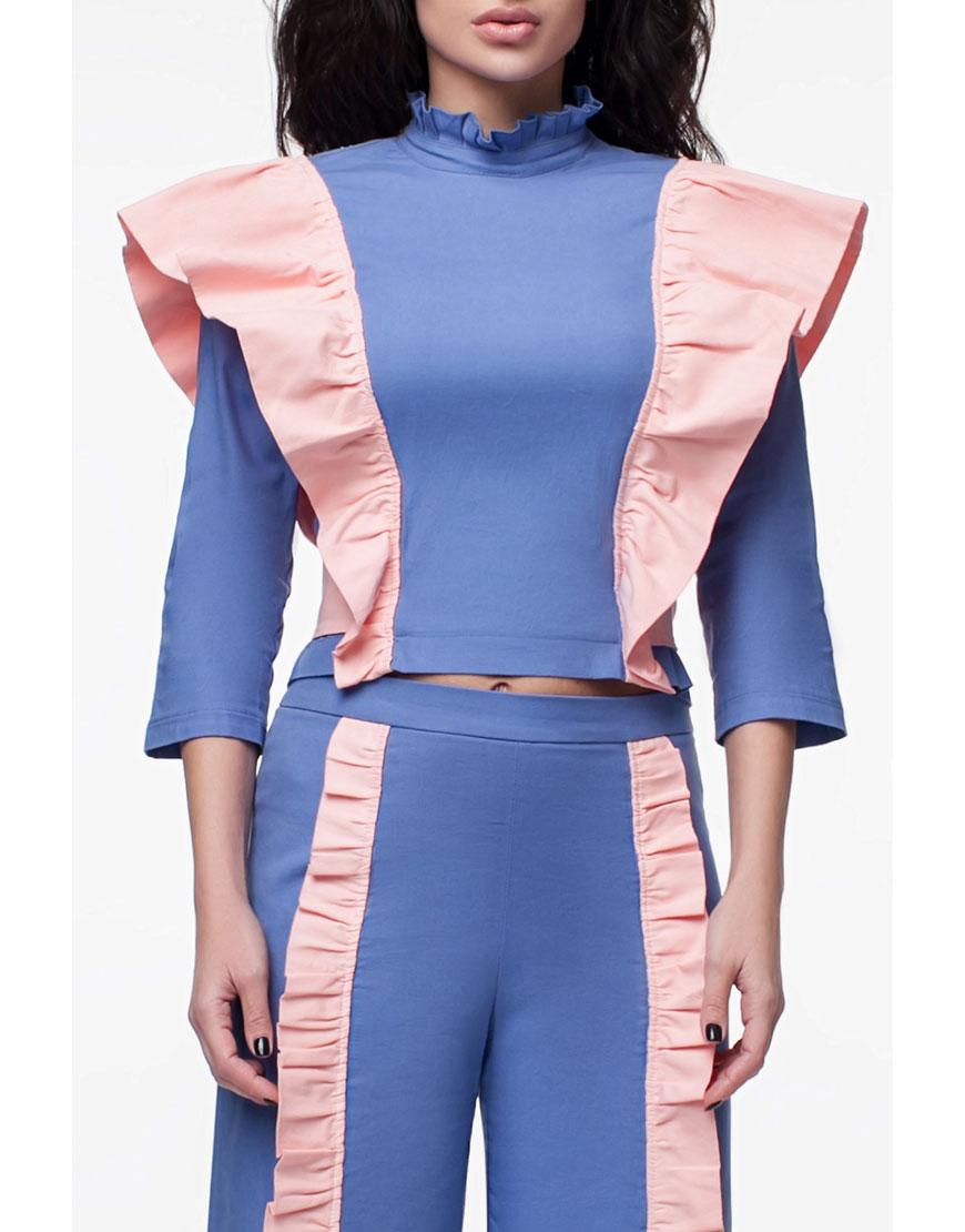 Блуза с контрастными рюшами