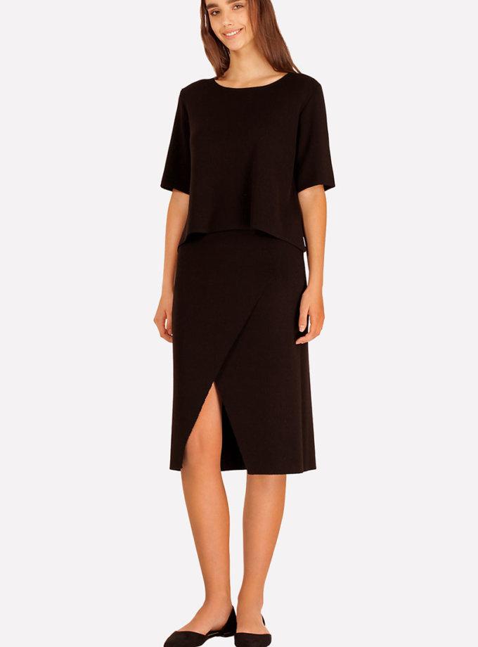 Трикотажная юбка с разрезом JND_16-040504_1, фото 1 - в интернет магазине KAPSULA