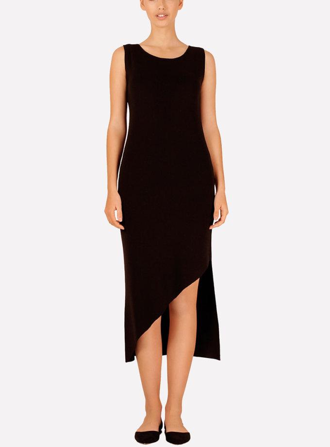 Вязаное платье с асимметричным подолом JND_16-040608_black, фото 1 - в интернет магазине KAPSULA