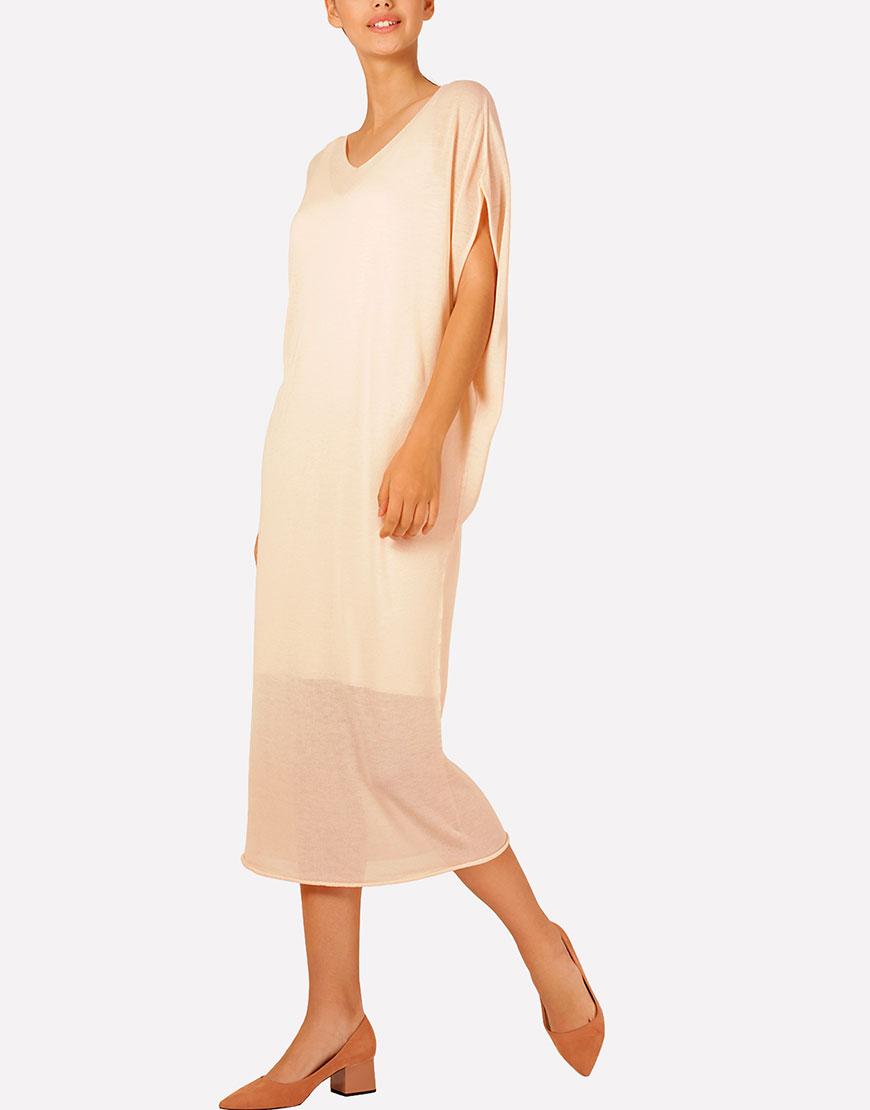 Бесшовное вязаное платье макси