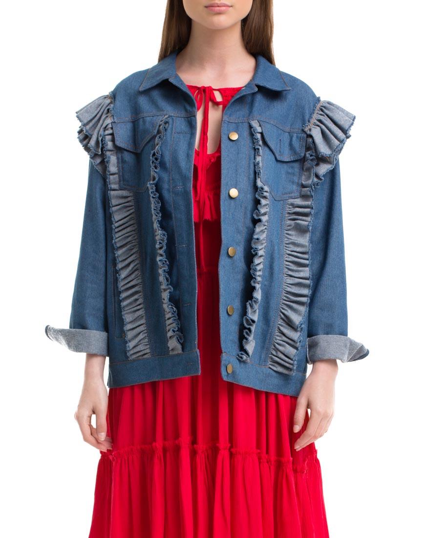 Куртка из денима с джинсовыми вставками