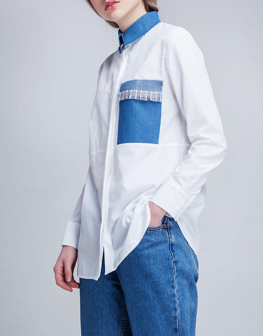 Купить Белая рубашка с джинсовым карманом