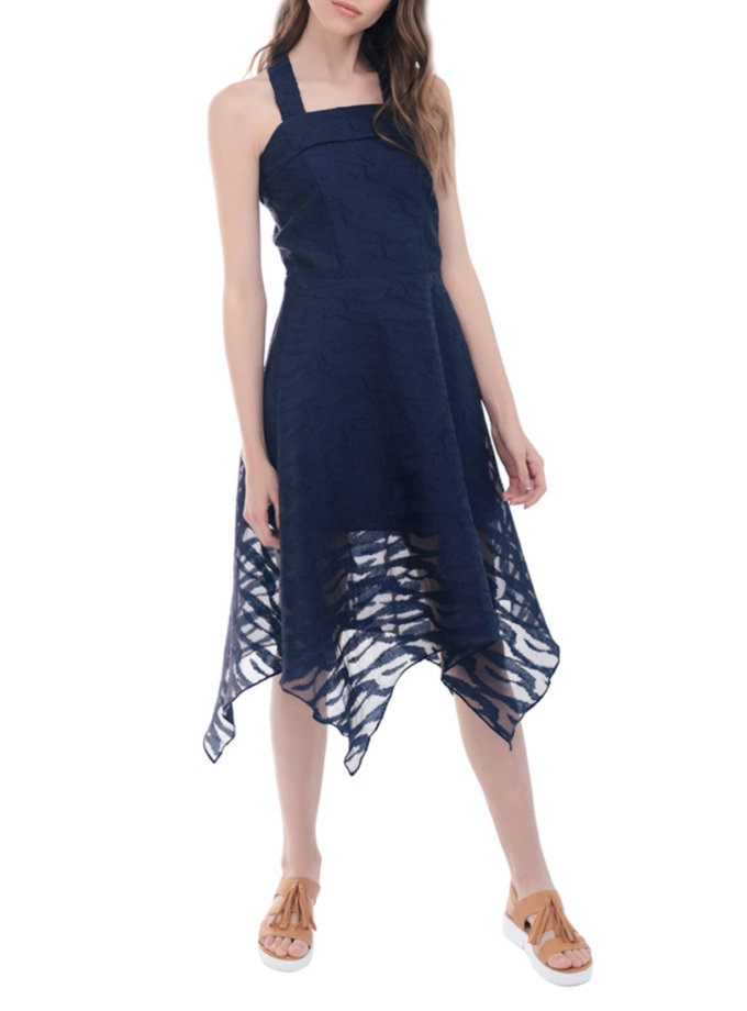 Платье из органзы приталенное миди CYAN_DS#H10_outlet, фото 1 - в интернет магазине KAPSULA