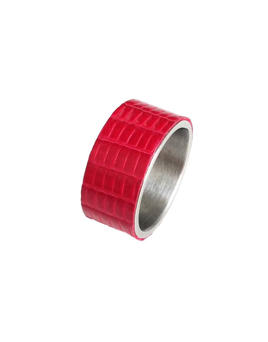 Кольцо STEEL с кожей игуаны