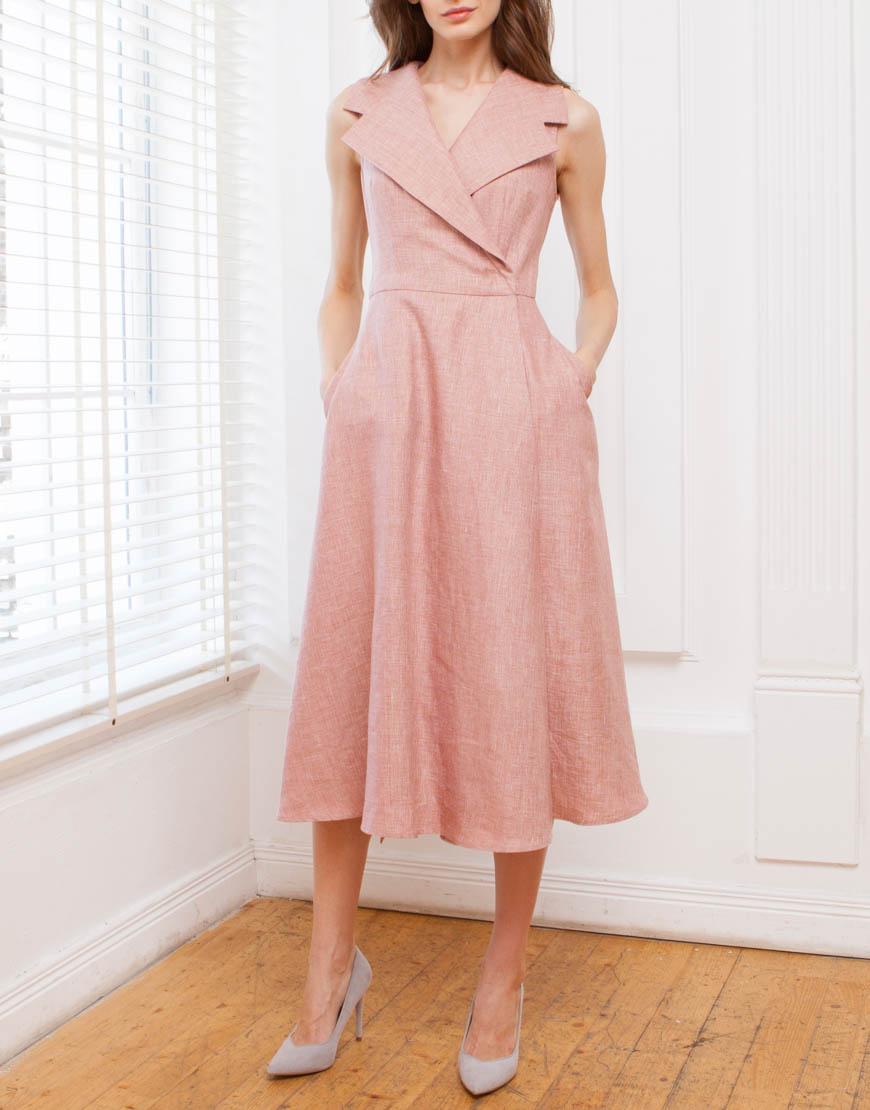 Платье на запахе из льна