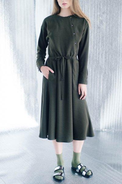 Платье миди на кулиске CYAN_DS#I03, фото 5 - в интеренет магазине KAPSULA