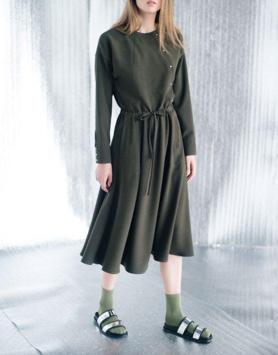 Платье миди на кулиске CYAN_DS#I03, фото 6 - в интеренет магазине KAPSULA