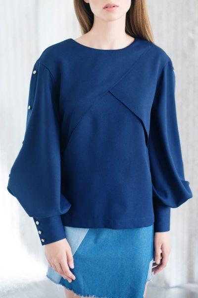 Блуза с пышными рукавами CYAN_TP#I03, фото 8 - в интеренет магазине KAPSULA