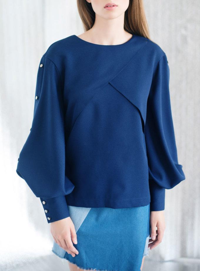 Блуза с пышными рукавами CYAN_TP#I03, фото 1 - в интернет магазине KAPSULA
