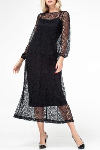 Платье с кружевом миди AY_FW18_2084, фото 1 - в интеренет магазине KAPSULA