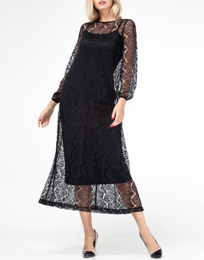 Платье с кружевом миди