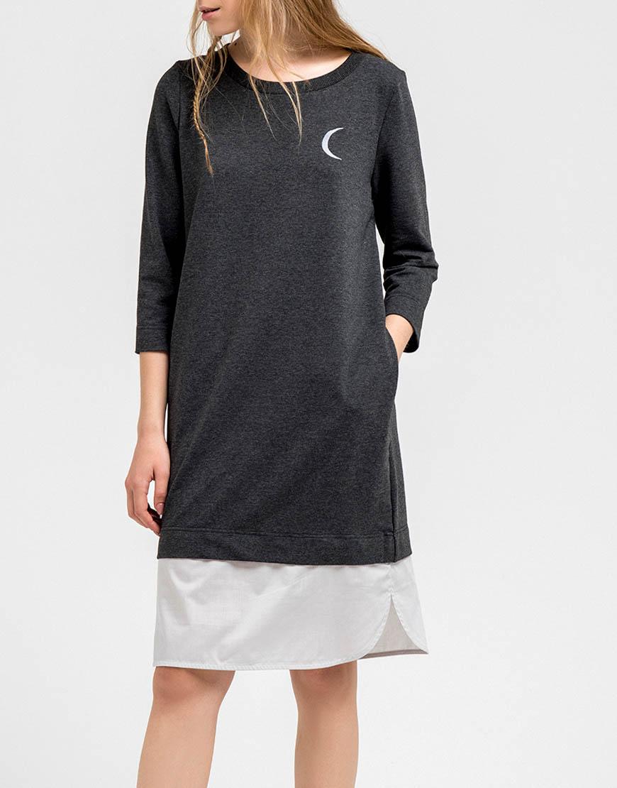 Купить Трикотажное платье с декоративной вставкой