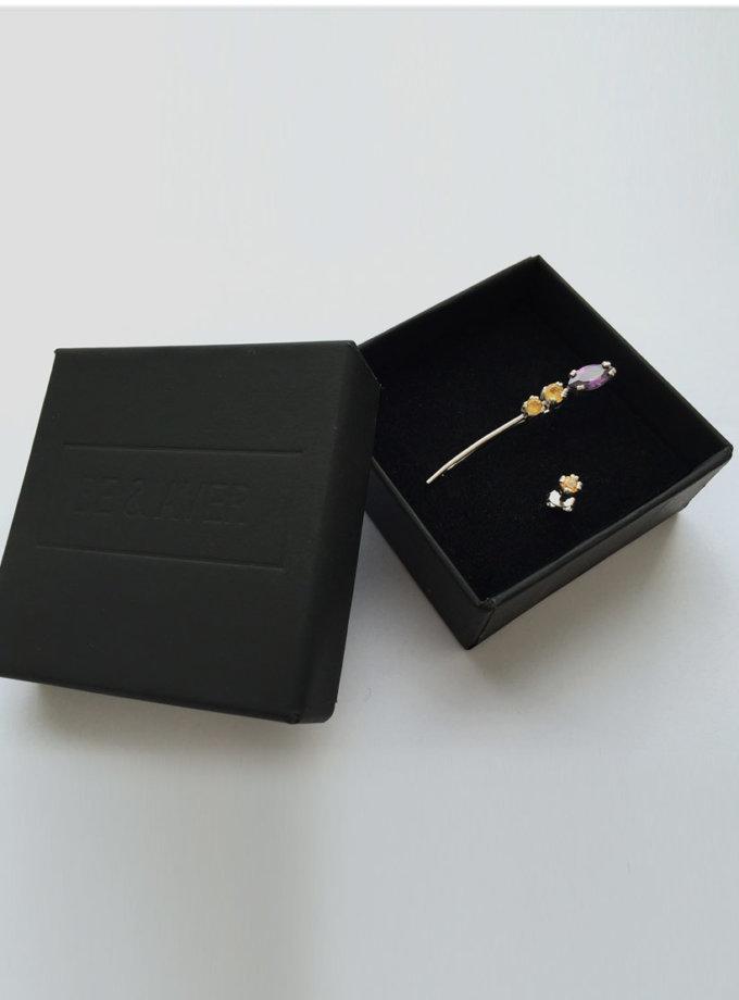 Серебряный кафф и сережка с камнями BEAVR_BA_FW17_18_25, фото 1 - в интернет магазине KAPSULA