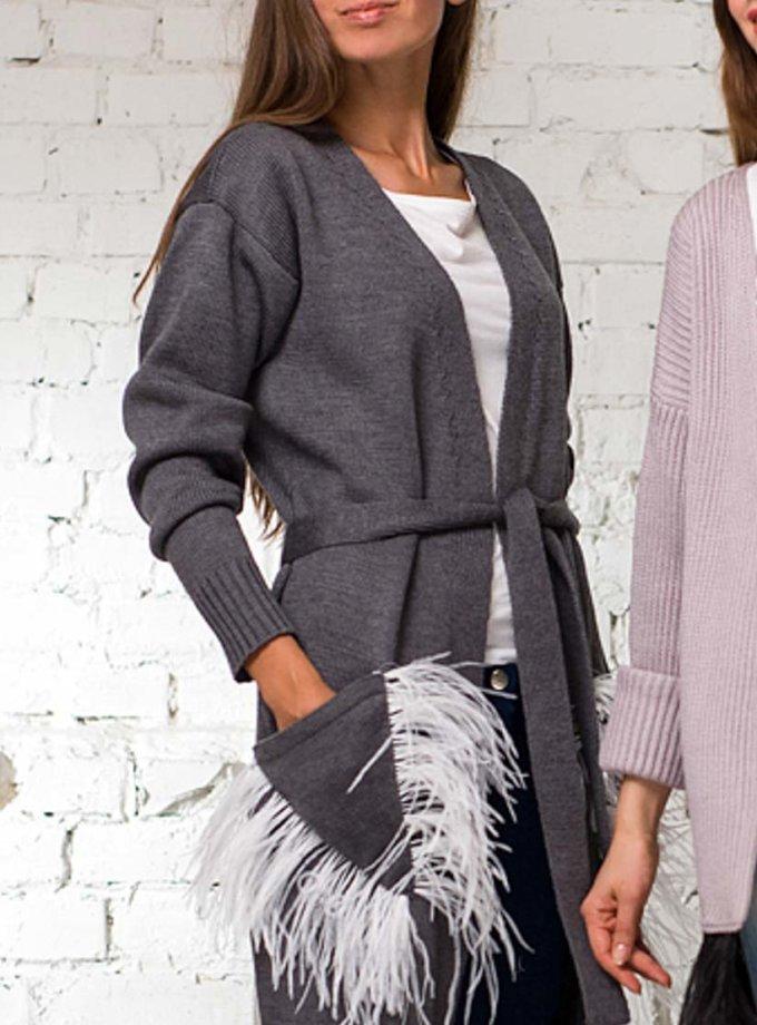 Легкий кардиган из шерсти с поясом и перьями HMCRG_grey100_white, фото 1 - в интеренет магазине KAPSULA