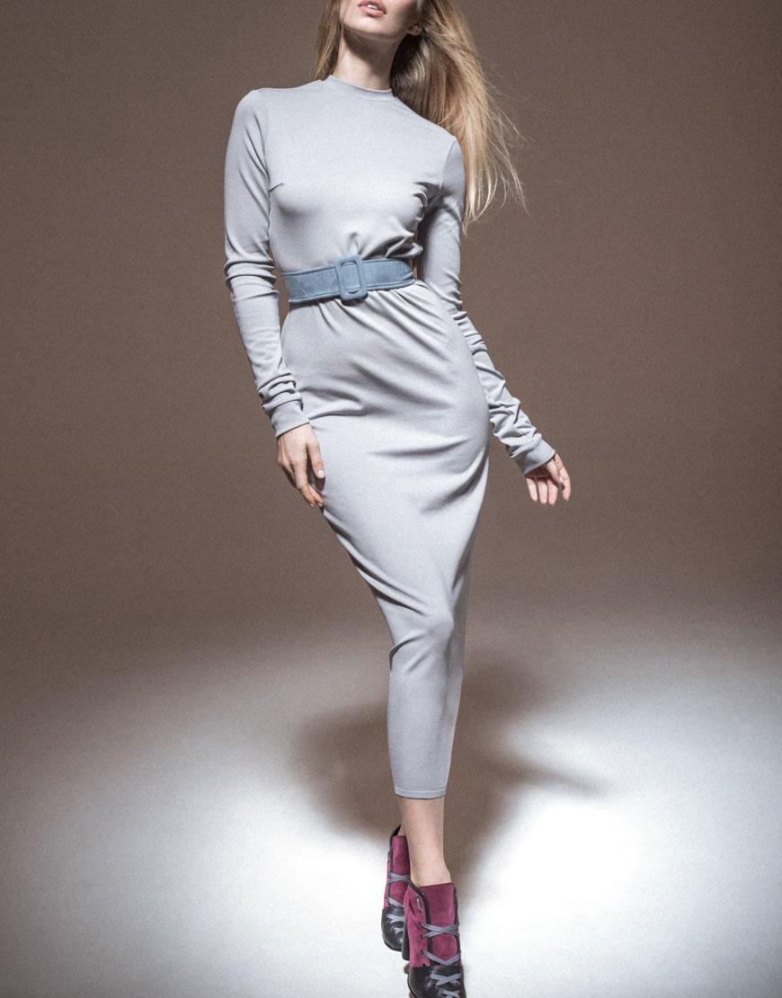 Купить Трикотажное платье с замшевым поясом
