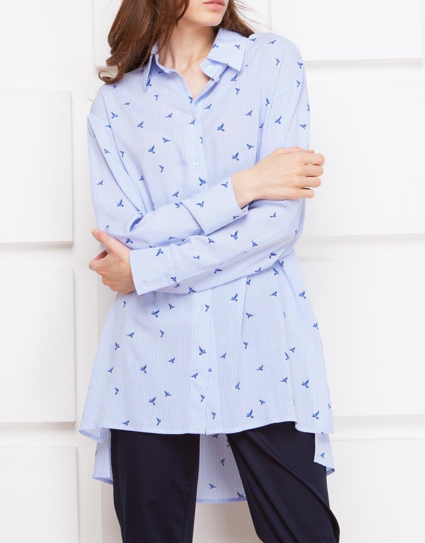 Купить Рубашка принт с разрезами