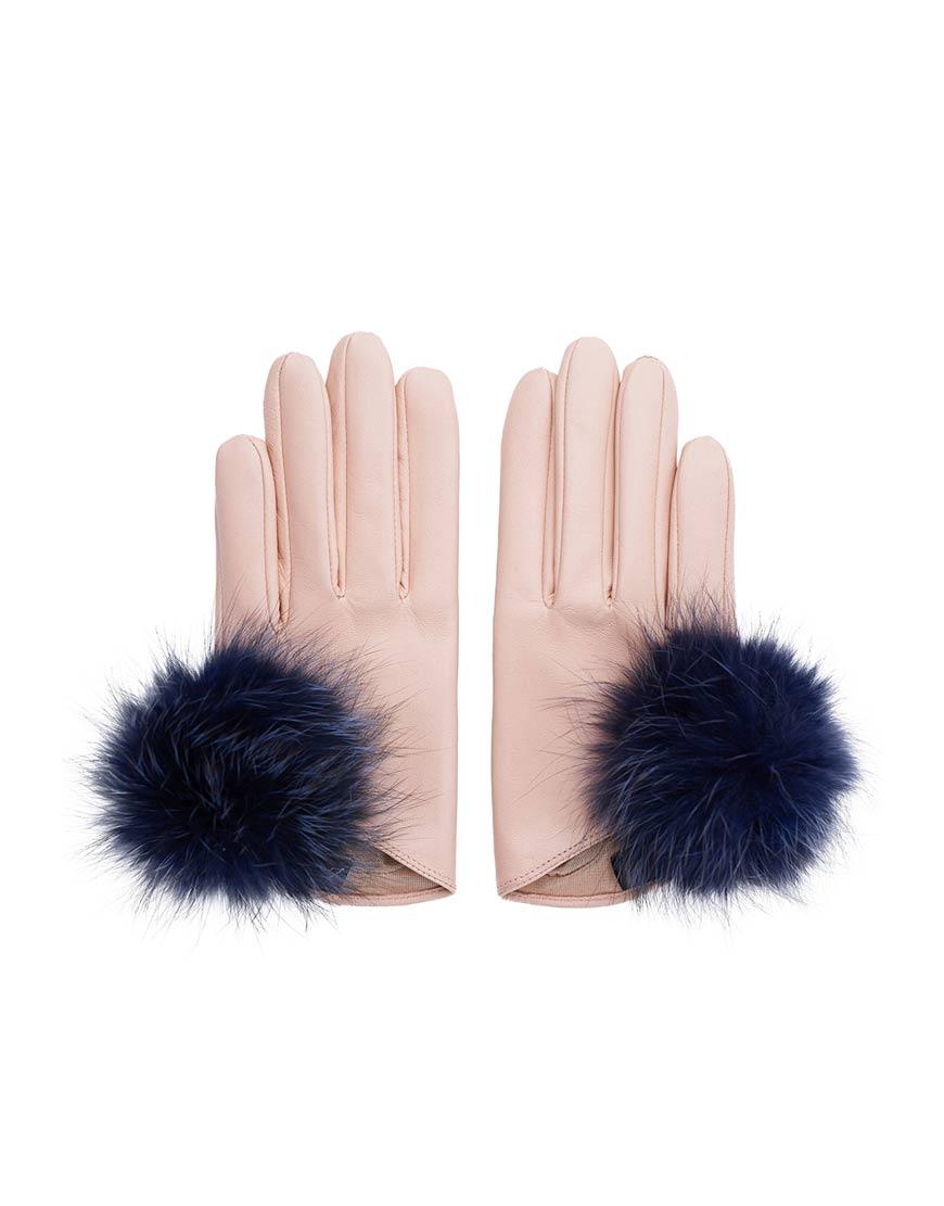 Перчатки короткие с мехом лисы