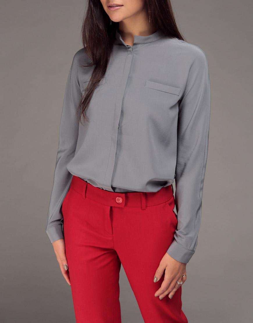 Шелковая блуза с цельным рукавом