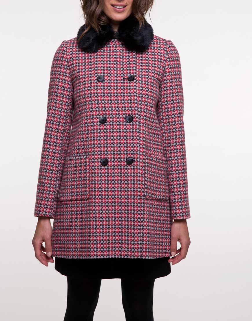 Пальто из шерсти со съемным воротником