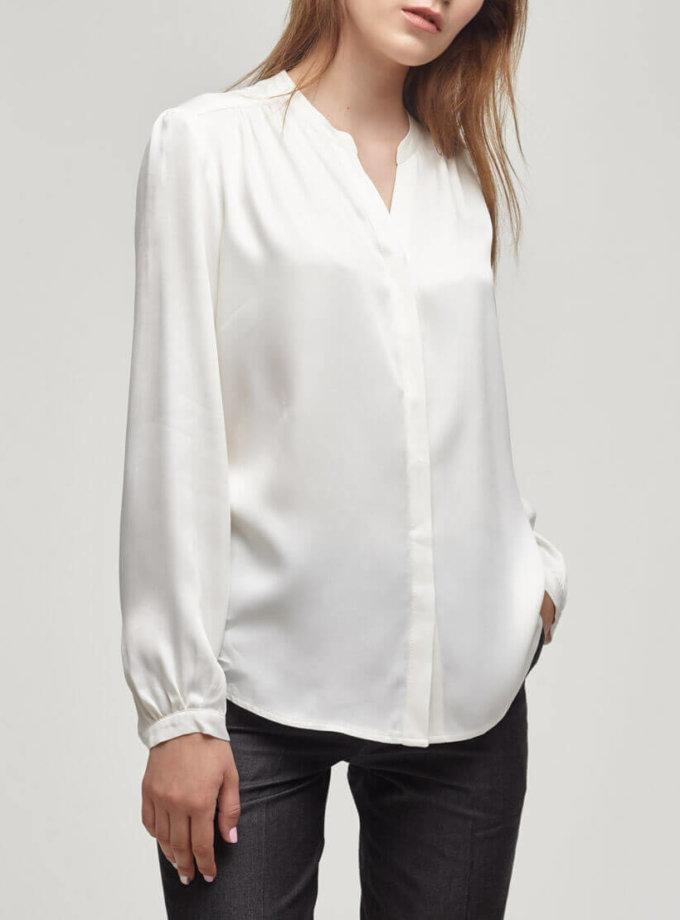 Блузка из плотного атласа PPM_PM-08_white, фото 1 - в интернет магазине KAPSULA