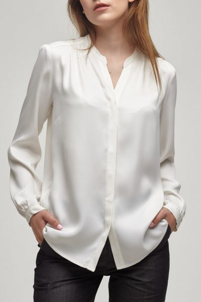 Блузка из плотного атласа PPM_PM-08_white, фото 5 - в интеренет магазине KAPSULA
