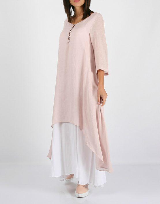 Льняное асимметричное платье  MRND_М23-1, фото 1 - в интеренет магазине KAPSULA