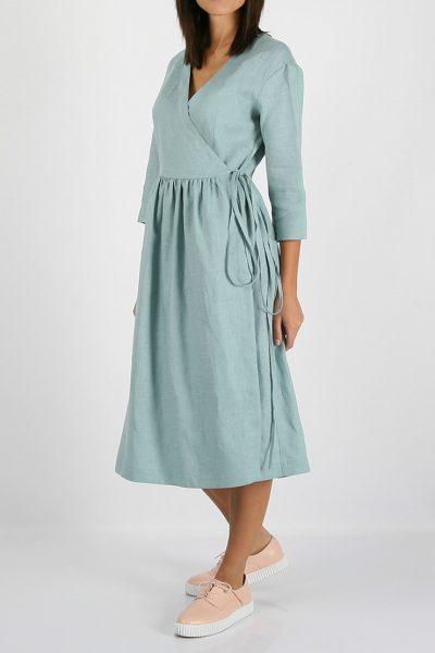 Льняное платье на запахе MRND_М24-1, фото 1 - в интеренет магазине KAPSULA