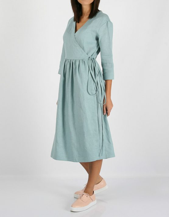 Льняное платье на запахе MRND_М24-1, фото 4 - в интеренет магазине KAPSULA