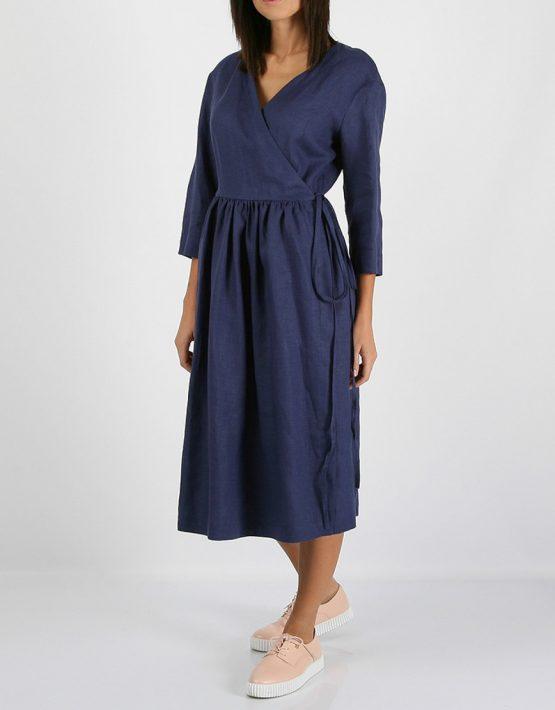 Льняное платье на запахе MRND_М24-2, фото 4 - в интеренет магазине KAPSULA