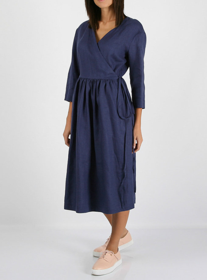 Льняное платье на запахе MRND_М24-2, фото 1 - в интернет магазине KAPSULA