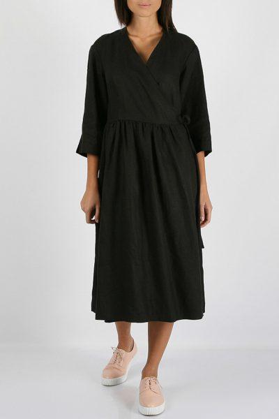 Льняное платье на запахе MRND_М24-3, фото 1 - в интеренет магазине KAPSULA