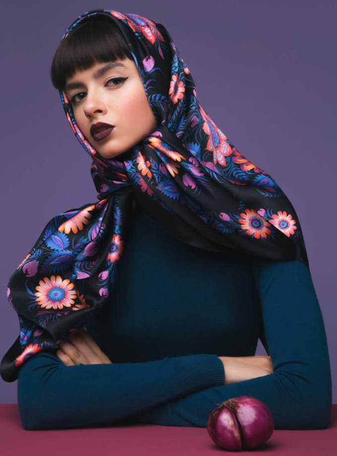 Шелковый платок Вечер OLZ_ KS_SS7, фото 1 - в интеренет магазине KAPSULA