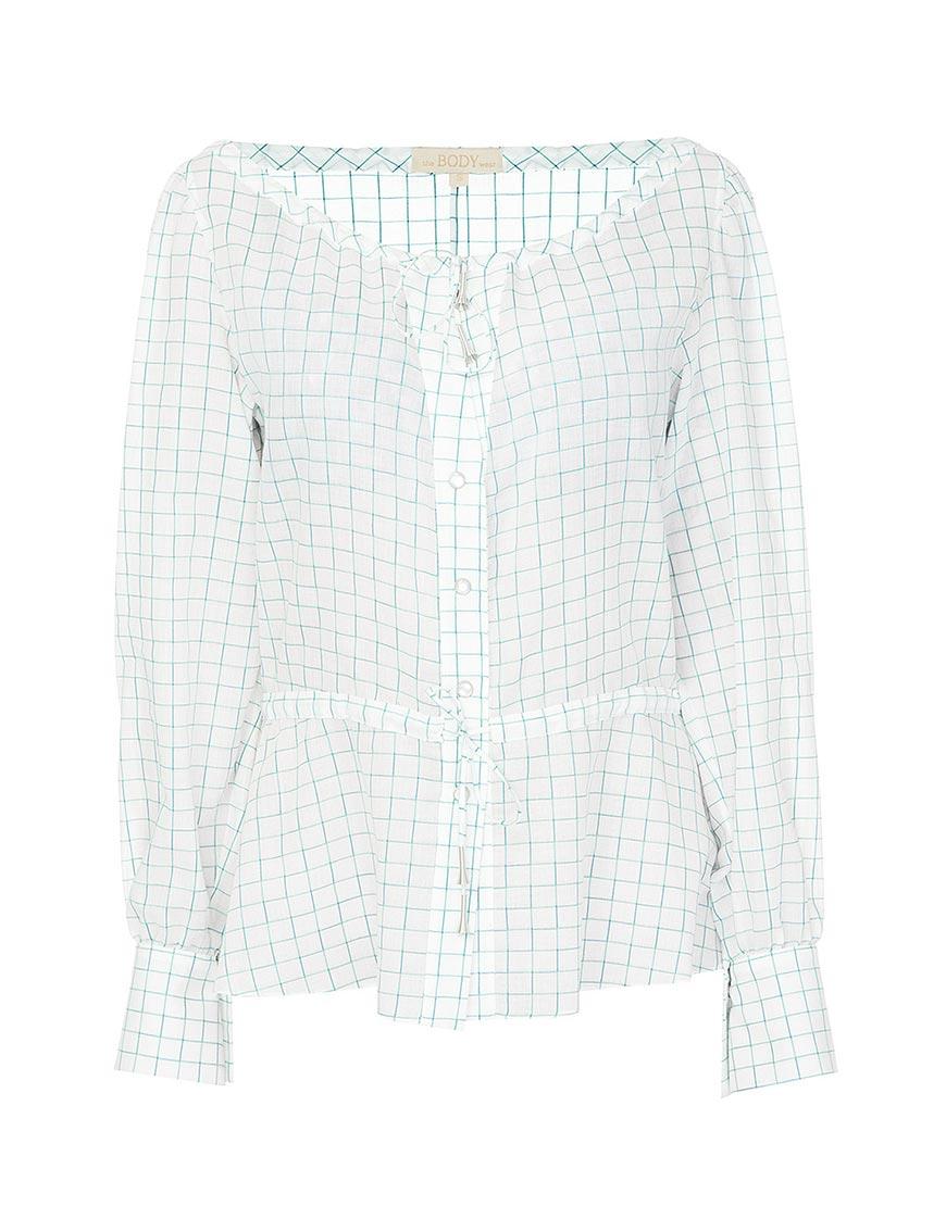 Купить Рубашка в клетку с завязками