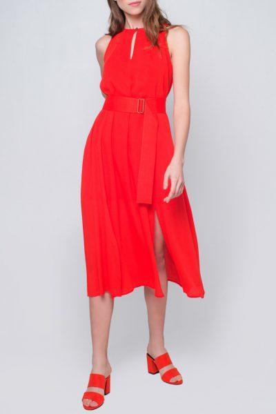 Платье миди с поясом CYAN_DS_J06, фото 1 - в интеренет магазине KAPSULA