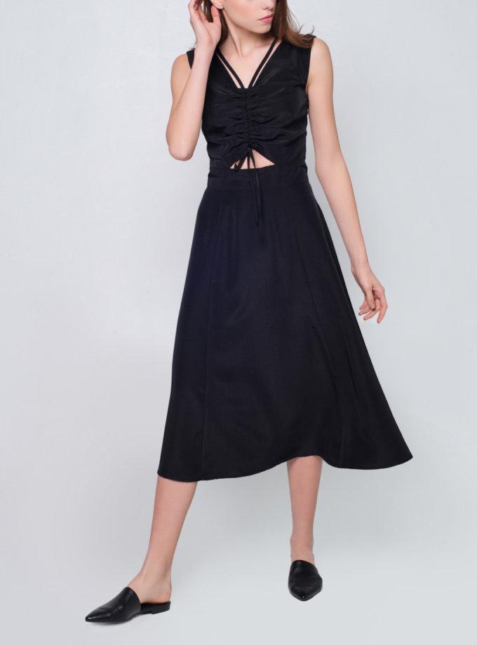 Платье со  сборкой на лифе CYAN_DS_J07, фото 1 - в интернет магазине KAPSULA