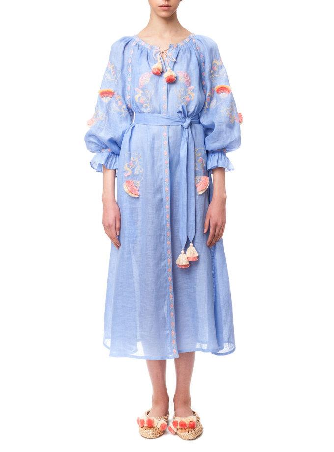 Прозрачное платье из льна на пляж Восход FOBERI_01162, фото 1 - в интернет магазине KAPSULA