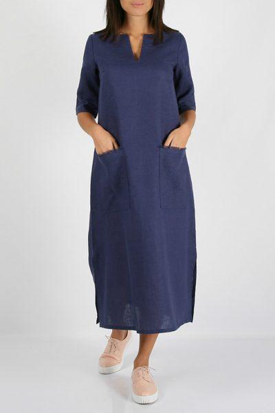 Льняное платье с разрезами по бокам MRND_М26-2, фото 4 - в интеренет магазине KAPSULA