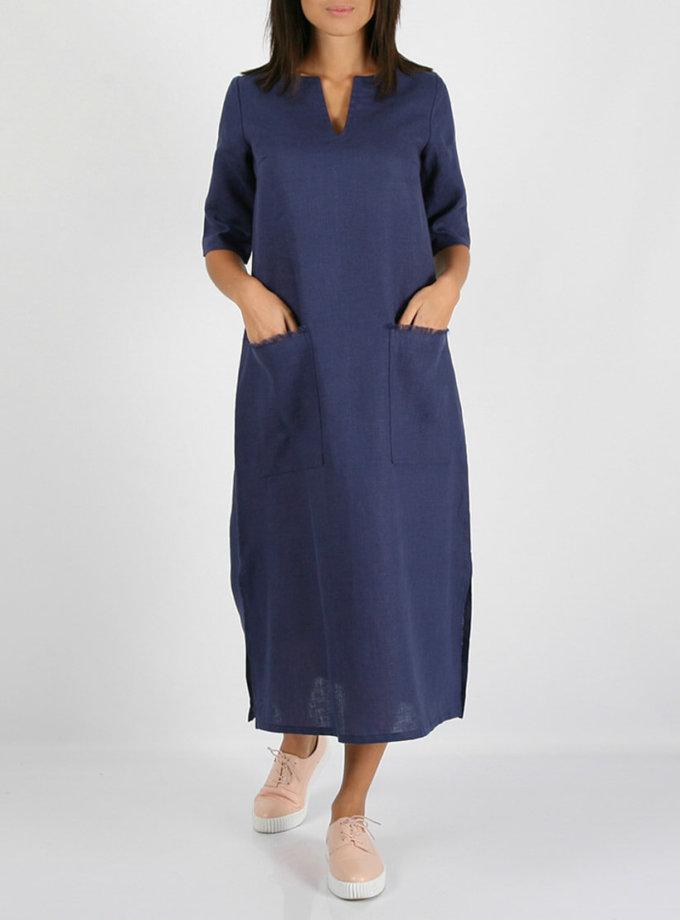 Льняное платье с разрезами по бокам MRND_М26-2, фото 1 - в интернет магазине KAPSULA